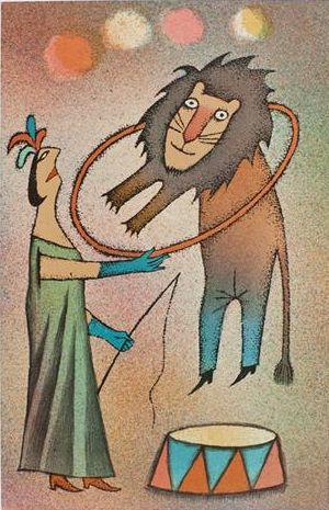 Illustration by Adolf Born (born 1930), Taming the lion. (Czech)