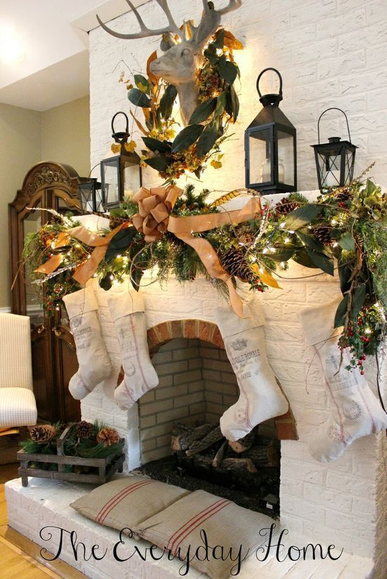 Farmhouse Style Christmas-Love this garland and the stockings. Probably use silver  candles or hurricanes on the mantle