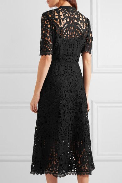 Temperley London - Berry Pussy-bow Guipure Lace Midi Dress - Black - UK14