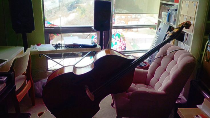 Working on the instrumental score at The Finishing Room studio in Toronto, with Ben Deschamps (Queens of Avalon musical, produced by Heather Dale).