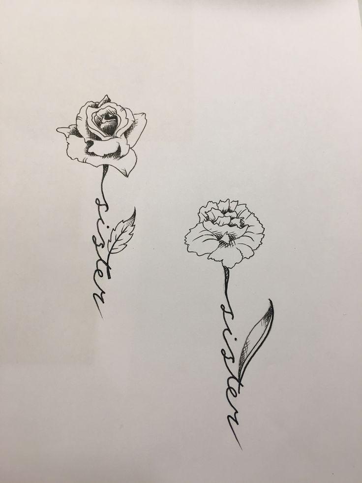 Sisters flower tattoos drawn by Travis Allen ...