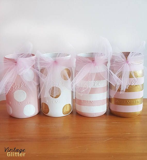 Baby Shower Mason Jars Pink and Gold Mason Jars Polka Dot