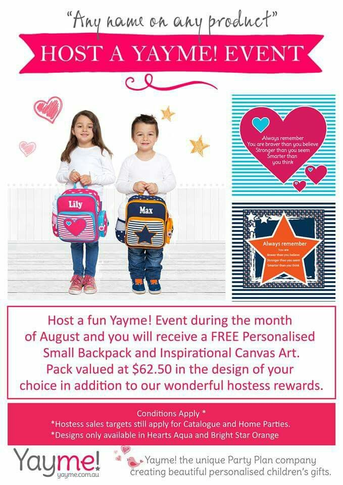 August Hostess Reward...2 Gifts! Book an event today...email me christinen@yayme.com.au