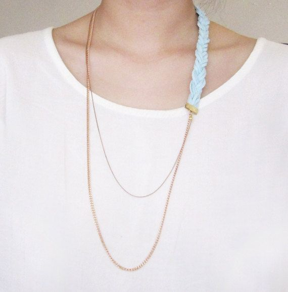 Blue Braided Suede Chain Necklace by thirdandhill on Etsy, $26.00