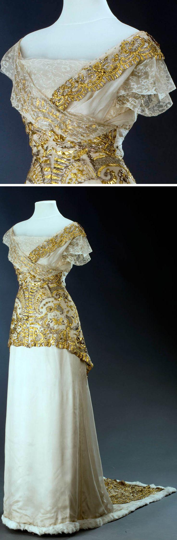Evening dress, L. a H.Laufer, Vienna, ca. 1913. Silk atlas. Photo: Kocourek Ondřej, Urbánek Gabriel. Museum of Decorative Arts, Prague, via eSbirky.cz