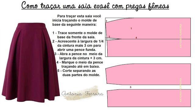 Modelagem por Antonia: SAIA EVASÊ COM PREGAS FÊMEAS