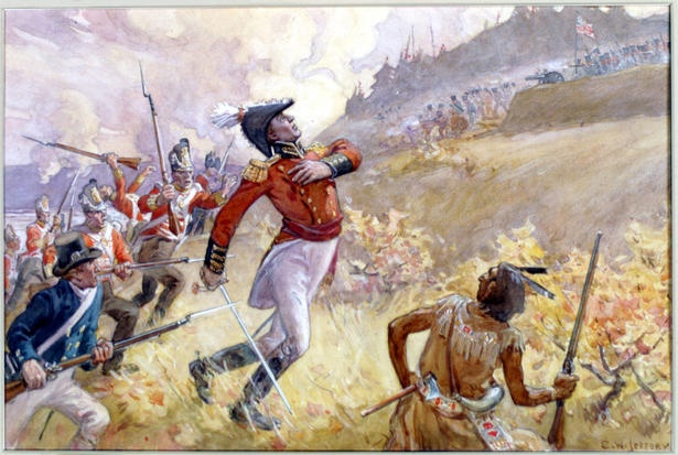 The mortal wounding of Gen. Isaac Brock at Queeston Heights, during the war of 1812.