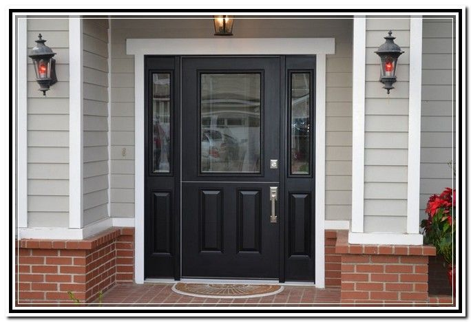 Front Entry Door With Sidelights And Transom Home Design Ideas Black Entry Doors Exterior