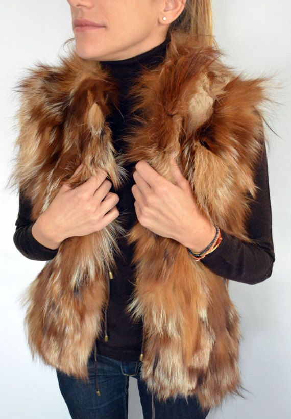 Sleeveless Women's Jacket made with real Fox fur in by lefushop