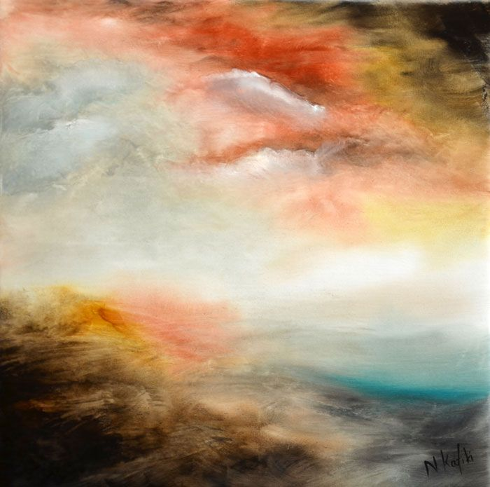 """Abstract LandscapePainting-Hoping  """"Hoping"""" is an abstract landscape painting  The size of artwork is:  40 X 40 X 3 cm    The painting is made on high quality canvas, with the finest oil materials and it is varnished for protection against UV light and dust."""