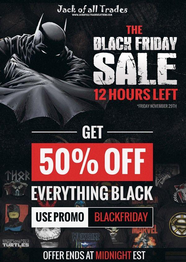 Less than 9 hours left. All that's BLACK is on Sale at JACKS! www.jackofalltradesclothing.com