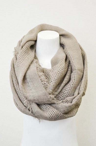 Open Grid Mocha Infinity Scarf with Frayed Edges  by LePetitMonkey, $32.99