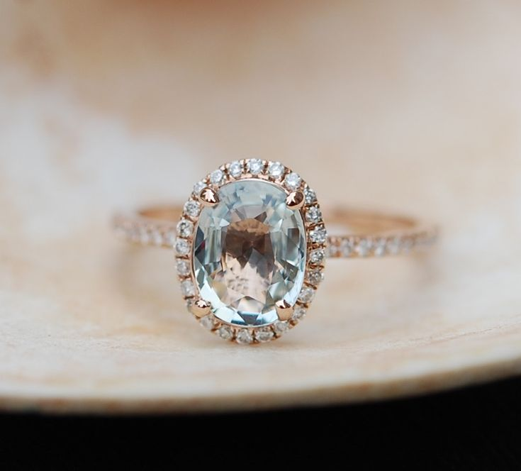 »Mint Green blue sapphire #engagement #ring. Mint #sapphire 2.06ct oval halo #diamond  ring 14k Rose #gold ring. Engagement rings by #Eidelprecious« #wedding #weddinginspiration #jewelry