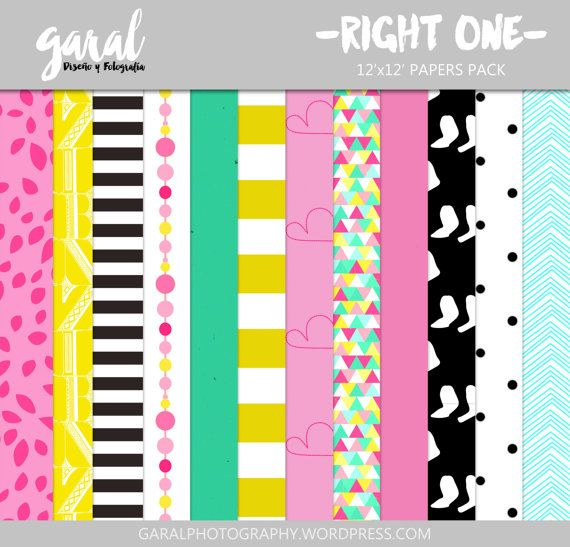 The Right One Scrapbook Papers Instant Download 12 by marcegaral