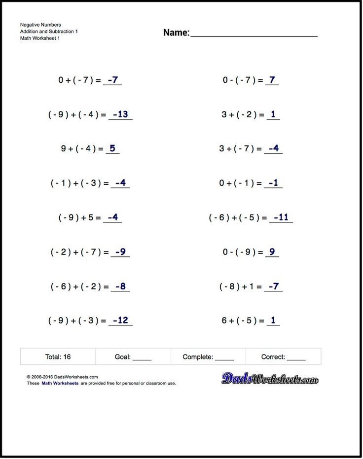 Worksheets With Simple Problems That Introduce Negative Numbers And Their Order Of Operati Negative Numbers Math Addition Worksheets Negative Numbers Worksheet
