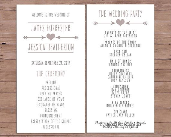 Wedding Program  Order Of Service  by DarlingPaperCompany on Etsy