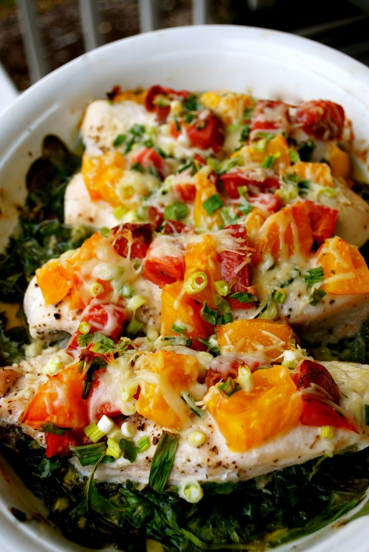 Spinach & Tomato Chicken-This was awesome.  Make sure you use thicker chicken so it doesn't dry out for leftovers.