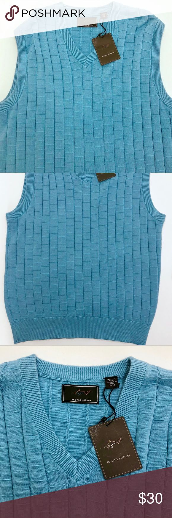 Greg Norman light blue men's M golf sweater vest Light blue checkered pattern men's golf vest. Please see photographs for measurements. Greg Norman Sweaters V-Neck