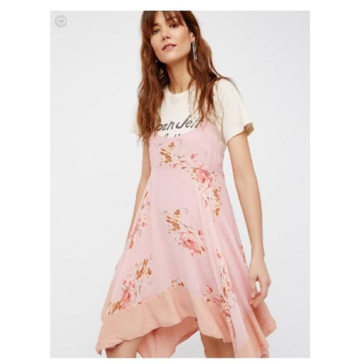 Free people pink faded bloom short casual dress size 8