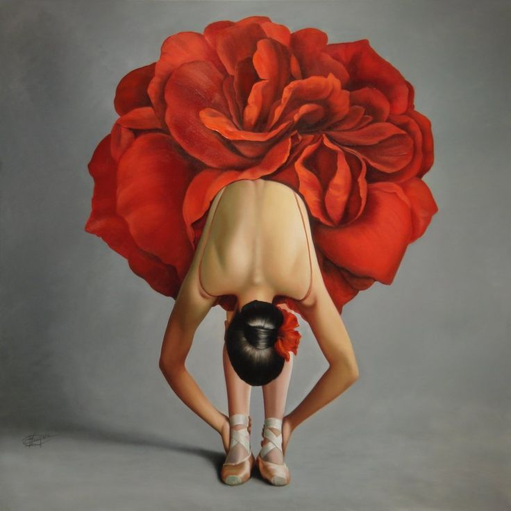 Flower girlBallet Dancers, Red Flower, Red Poppies, Flower Dresses, Art, Red Rose, Ballet Tutu, Oil Painting, Rose Petals