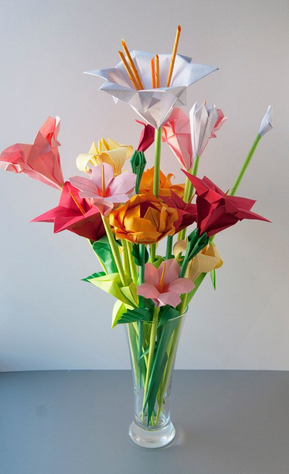 Rosa Rot Gelb Sortierte Origami Blumen Mutter Tag
