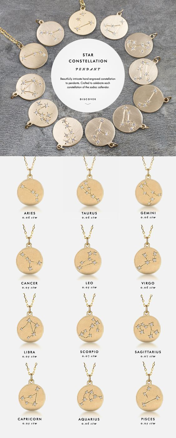 Star Constellation Pendant - Beautifully intricate hand engraved constellation to pendants. Crafted to celebrate each constellation of the zodiac calendar.