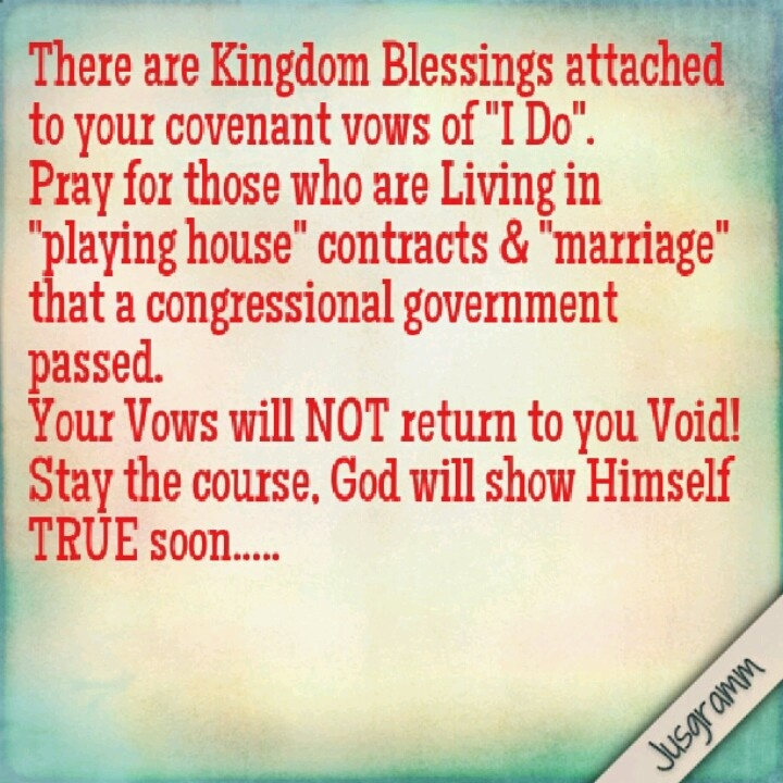 """There are Kingdom Blessings attached to your covenant vows of """"I Do"""".   Pray for those who are Living in """"playing house"""" contracts & """"marriage"""" that a congressional government passed.  Your Vows will NOT return to you Void!  Stay the course, God will show Himself TRUE soon....."""