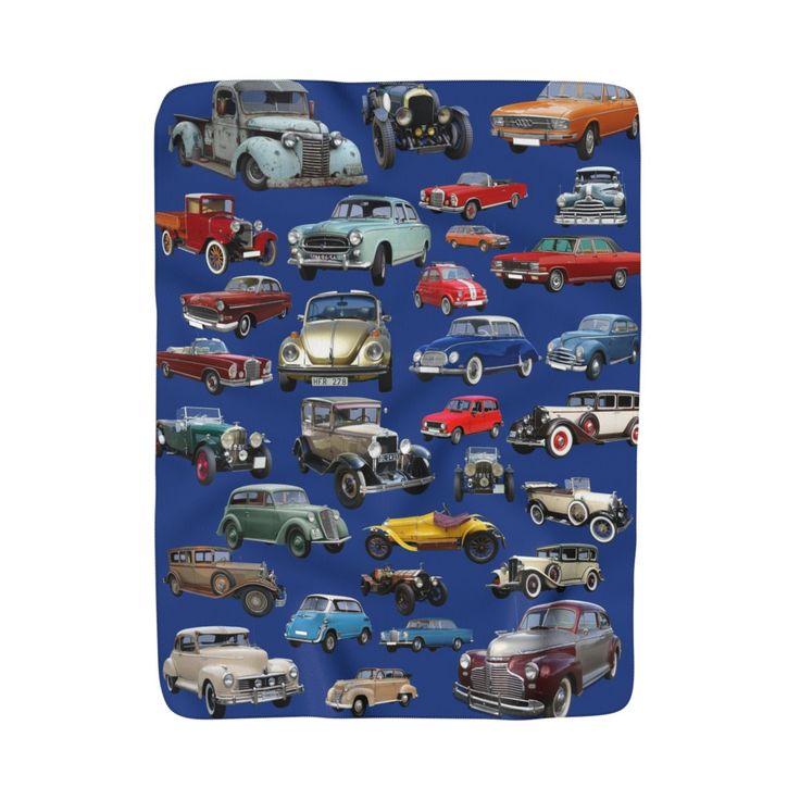 Vintage Cars Blanket, Antique Cars Blanket, Classic Cars, Gifts for Dad, Sherpa Fleece Blanket, Cars Photo Collage, Cars Collage Blanket