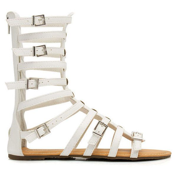 WHITE Arena Allure Gladiator Sandals ($29) ❤ liked on Polyvore featuring shoes, sandals, white, roman gladiator sandals, vegan shoes, white sandals, open toe sandals and buckle sandals