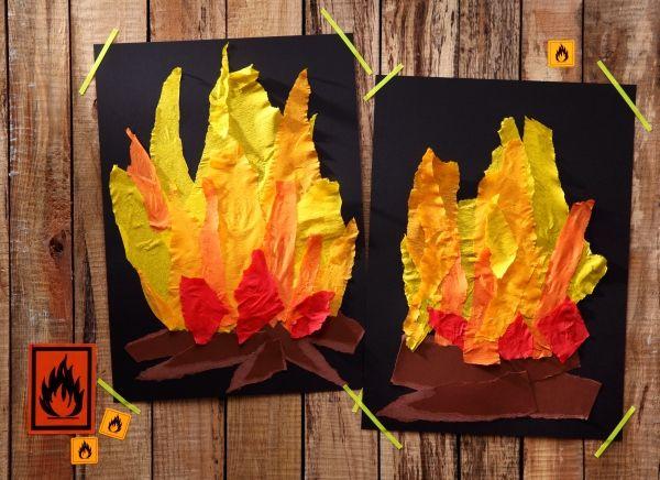 Lagerfeuer, Krepp-Papier, DIY, Basteln mit Kindern, Kindergeburtstag, produziert für tambini.de