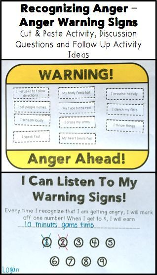 Elementary Classroom Management Techniques ~ Identifying anger warning signs activity
