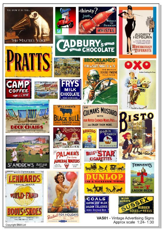 VAS01- Vintage Advertising Signs Approx Scale 1/24 -1/30