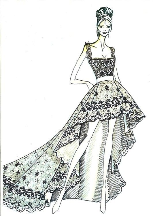 Diseño De Prendas Bocetos De Vestidos