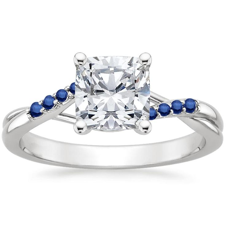 Platinum chamise ring with sapphire accents rings for Wedding ring sets with sapphire accents