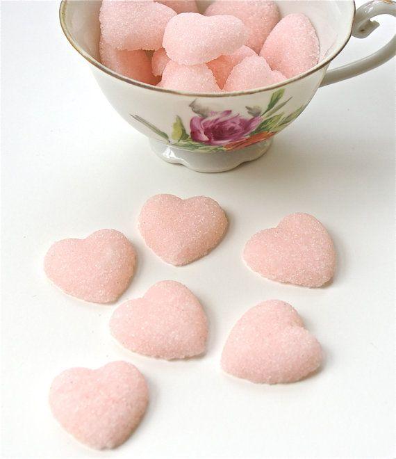 Pink Sugar Hearts for Tea Parties, Champagne Toasts, Favors, Coffee, Tea, Berries, Cider, Lemonade