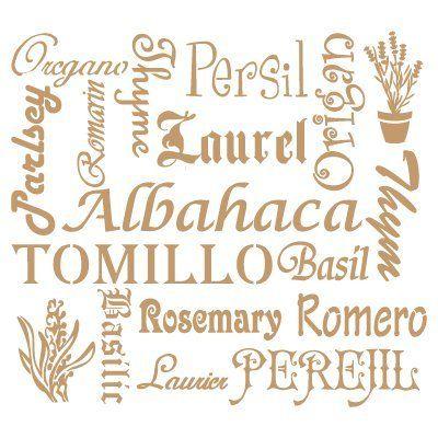 Stencil Deco Vintage Composición 094 Plantas Aromáticas. Medidas aproximadas:Tamaño del stencil 25 x 25(cm) Tamaño de la figura 21 x 19(cm)