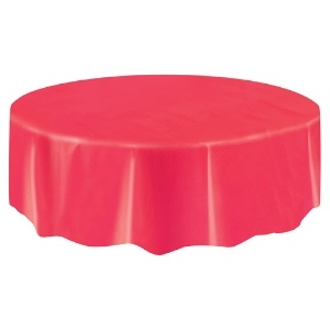 Round Plastic Tablecover Red