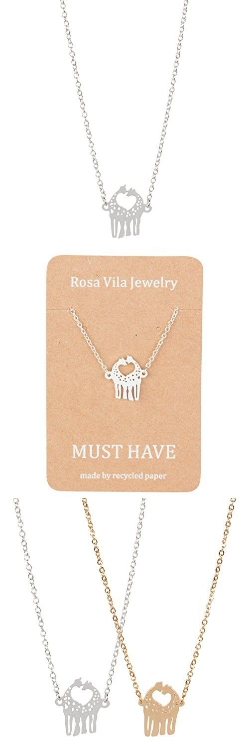 Love Giraffe Necklace Cute Animal Necklace Great for Couples by ROSA VILA (Gold tone)