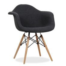 Stoel WOODEN ARMS HAYA -Beech Upholstered Black-