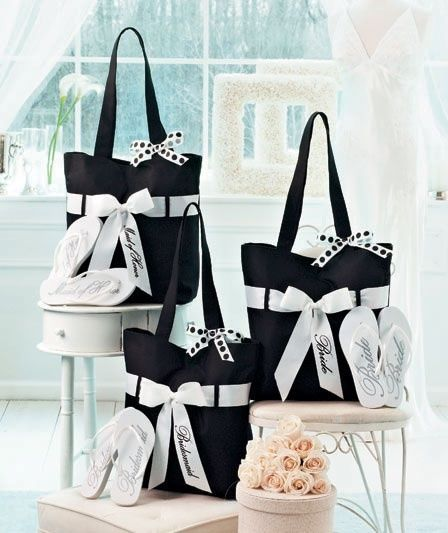Wedding Tote and Flip-Flop Sets Bridal Party Gift Set Bridesmaid Maid ...