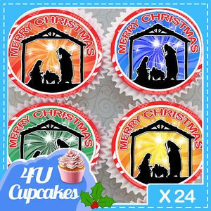 24-x-CHRISTMAS-NAVITY-SCENE-EDIBLE-CUPCAKE-TOPPERS-PREMIUM-RICE-PAPER-3596