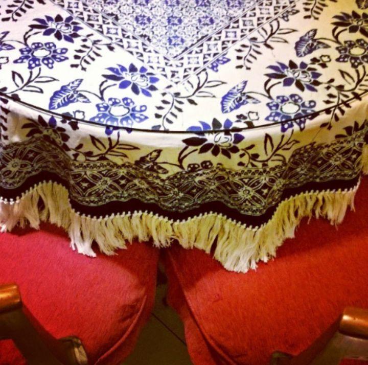 Blue Batik tablecloth from Cirebon meets red Tenun (traditional woven fabric) - Indonesian fabrics.