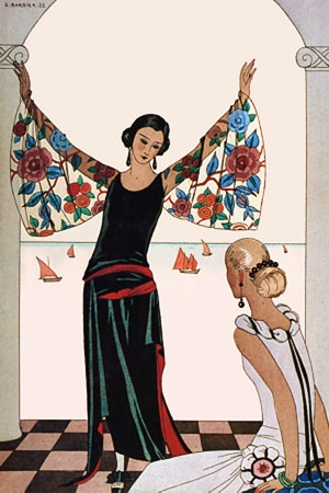 """George Barbier (1882-1932) - French Art Deco Fashion Illustrator - 'Here Are My Wings!"""", 1922"""