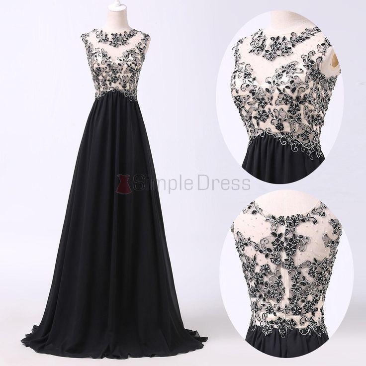 Simple Dress Handmade Beading Scoop Black Long Chiffon Prom Dresses/Evening Dresses  CHPD-7199