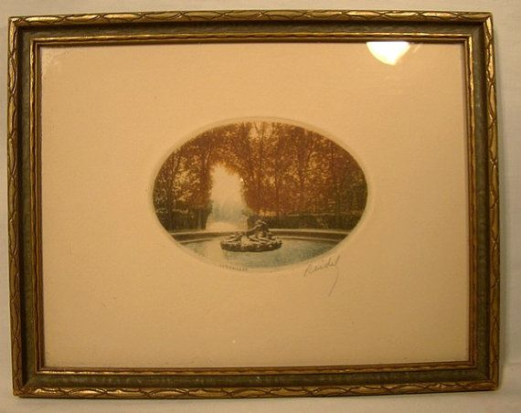 Signed Reidel Versailles Copperplate Etching Engraving 1920s
