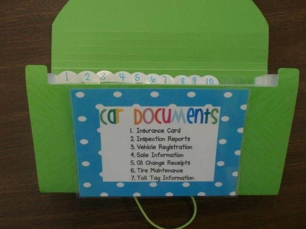 Organize all the documents that you've been nonsensically shoving in your glove compartment using an accordion folder. | 23 Ways To Clean Up and Organize Your Embarrassment Of A Car