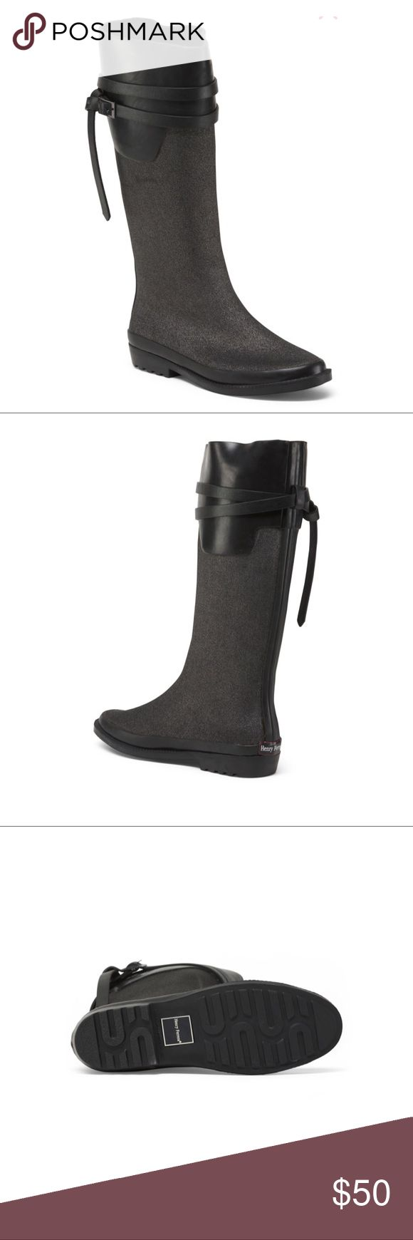 🎉HP🎉 NEW Henry Ferrera Rain Boots   Size 9 Brand New in box Henry Ferrera Rain boots Size: 9  Color: Pewter with black straps Style: Ambiance 100 Water resistant with buckle and strap detail Pull on boots Shaft height is about 15 inches and shaft circumference is about 14.74 inches. 1 inch heel Great as a gift! Questions? Please ask prior to purchasing Henry Ferrera Shoes Winter & Rain Boots