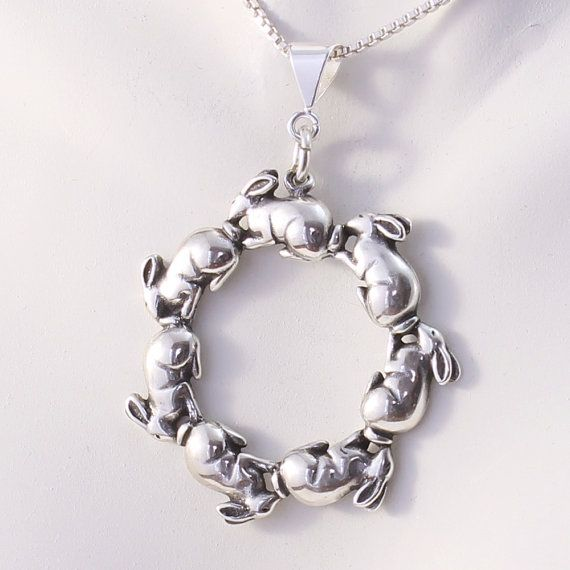 Rabbit Necklace  Sterling Silver Circle Bunny Pendant by Buntique