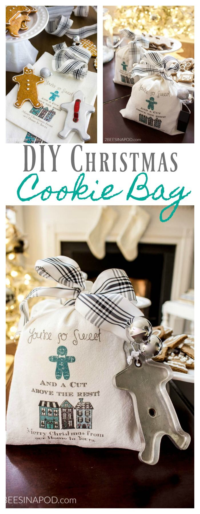 DIY Christmas Cookie Bag for Neighbors and Friends. Christmas gift. Christmas cookie exchange. Christmas neighbor gift. Christmas friend gift. Christmas cookie packaging. Christmas cookie recipe. Vintage cookie cutter. Gingerbread man.