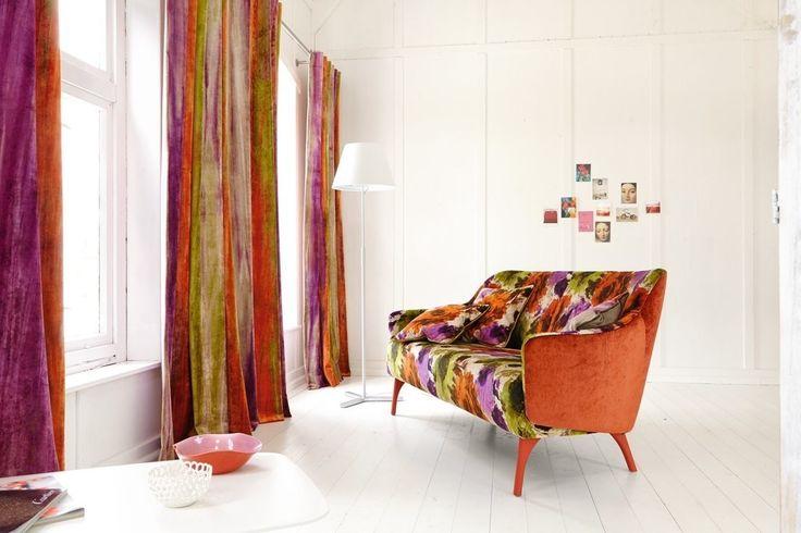 kolorowe zasłony, firany, firanki, kolorowe wnętrza. Zobacz więcej na: https://www.homify.pl/katalogi-inspiracji/12254/kolorowe-firany-i-zaslony